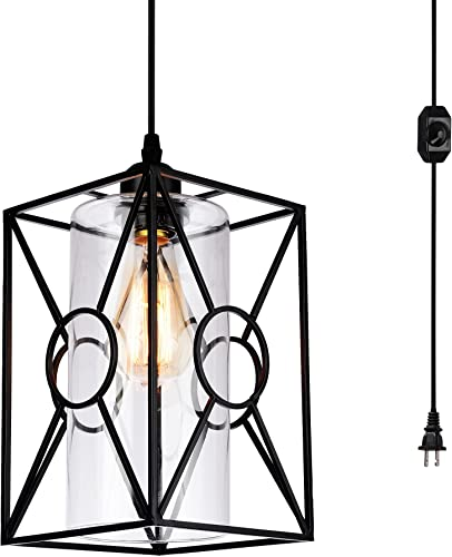 HMVPL Plug-in Pendant Lights with Glass Lamp-Shade, 16.4 ft Hanging Cord and On Off Dimmer Switch, Industrial Metal Swag Ceiling Lamps for Dining Room Bed Room Kitchen Island Table Foyer Entryway