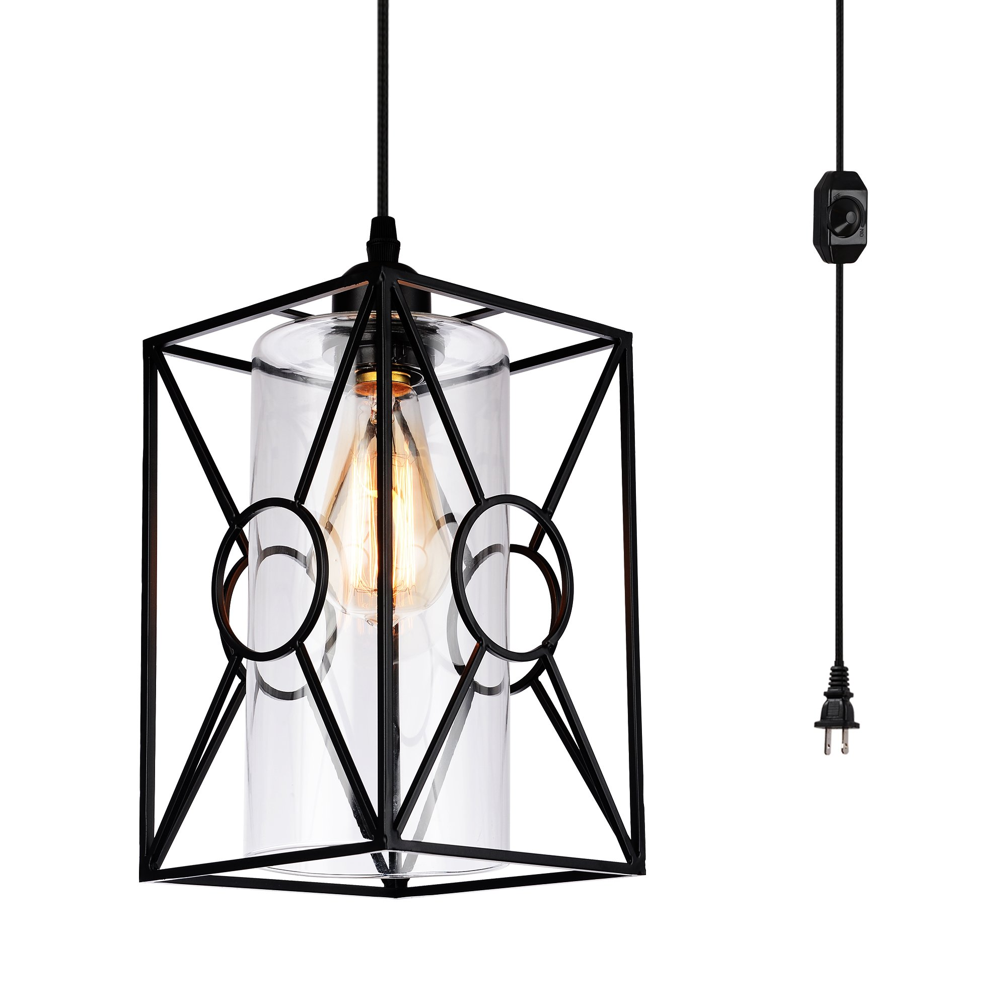 HMVPL Plug-in Pendant Lights with Glass Lamp-Shade, 16.4 ft Hanging Cord and On/Off Dimmer Switch, Industrial Metal Swag Ceiling Lamps for Dining Room Bed Room Kitchen Island Table Foyer Entryway