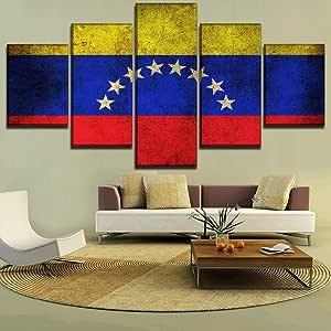 mmwin 5 Unidades Bandera de Venezuela Decoración para el hogar Arte de la Pared Imagen Modular Lienzo Impreso Cartel para Sala de Estar w Moderno: Amazon.es: Hogar