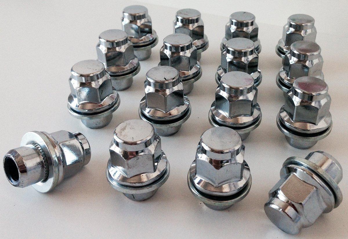Set di 16 bulloni da ruota M12 x 1,5 filettatura, seduta piatta, 21 mm esagonale, adatti a Toyota Bimecc