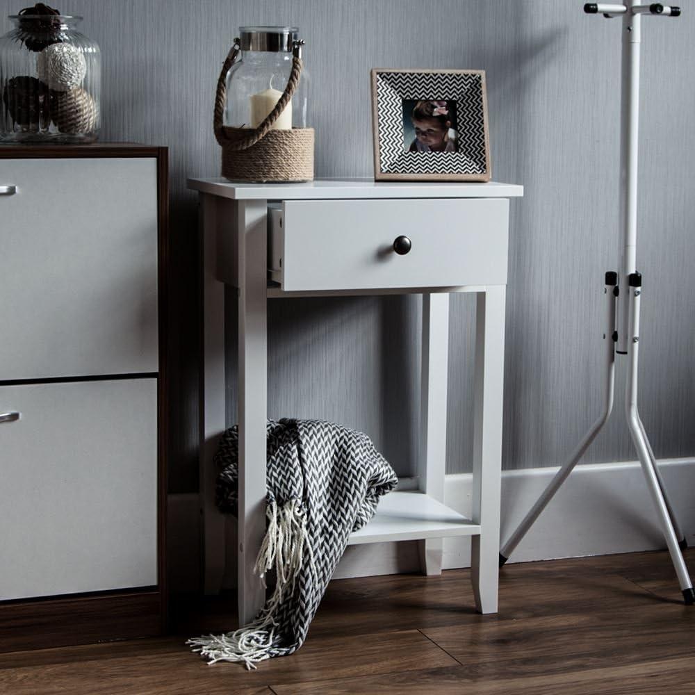 Vida Designs Windsor 1 Drawer Console Table With Shelf, White Wooden Hallway Living Room Bedroom Dressing Dresser Desk Furniture