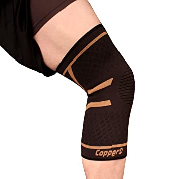 d0f18d855d0791 Copper D Copper Compression Knee Sleeve - Rayon from Bamboo Charcoal Copper  Infused Knee Support Brace