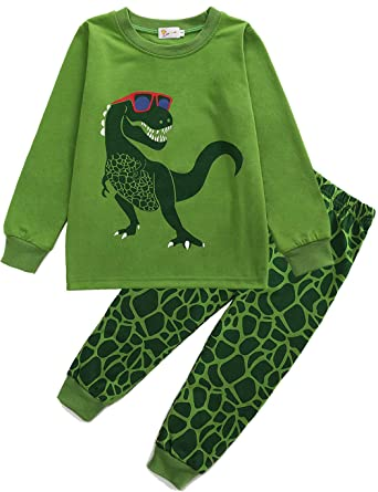 dae9f0e0d Amazon.com  DDSOL Kids Pajamas for Boys Long Sleeve Dinosaur Pjs Set ...