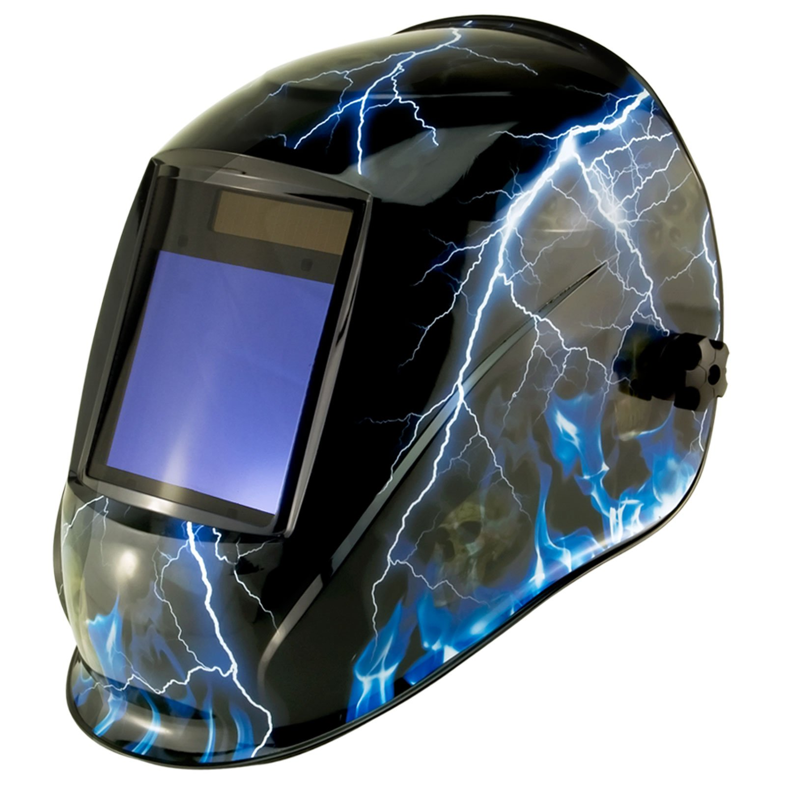 True-Fusion Big-1 Lightning IQ2000 Solar Powered Auto Darkening Welding Helmet Hood Grind mask with Massive View Area (98mm x 87mm - 3.85x3.45 inches) FREE Storage Bag, Spare Lenses and Spare Sweatband included
