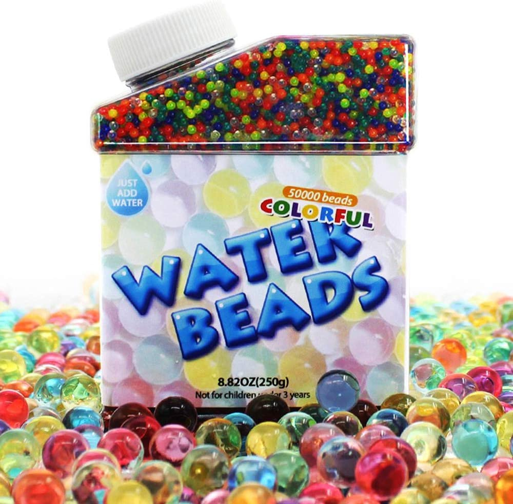 UMIKU Water Beads 50000 Soft Beads Rainbow Mix Water Growing Balls for Kids Tactile Sensory Toys Home Décor