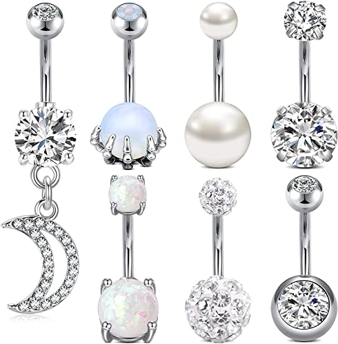 7PCS//Set Stainless Steel Crystals Belly Buttons Ring Navel Body Jewelry Pierc BE