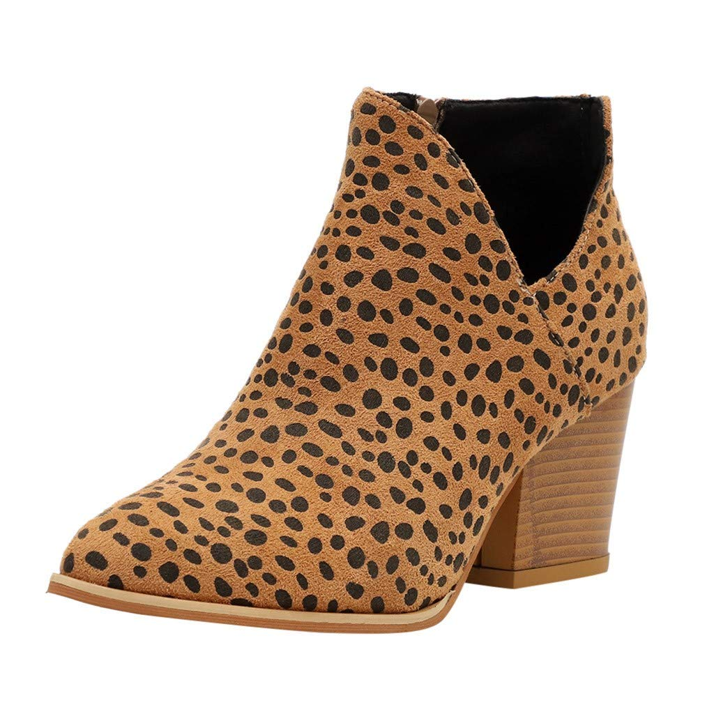 Dermanony Women's Snake Leopard Printed Ankle Boots Fashion Side Zipper Thick Pointed Toe Casual Mid Heel Boots Shoes Brown by Dermanony _Shoes