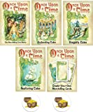 Once Upon A Time Card Game Bundle with Base Game and 4 Expansions Plus 2 Treasure Chest Buttons