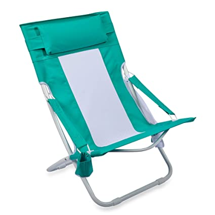Sturdy And Comfortable Folding Hammock Beach Chair In Blue, Include A  Headrest With Pillow,