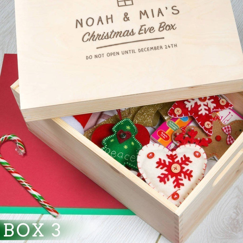 Personalised Family Christmas Eve Box Wooden Christmas Eve Box