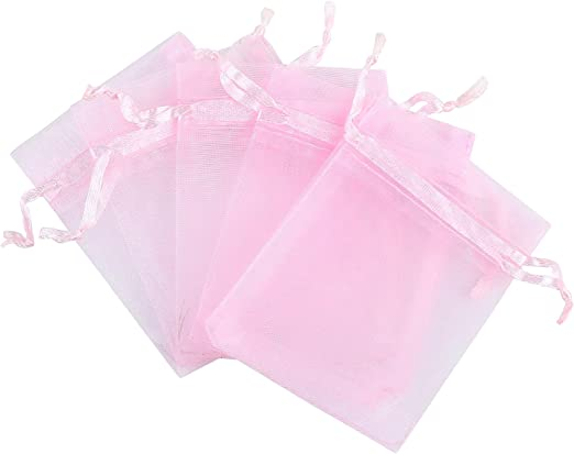 Lilac /& Green. Beautiful Drawstring Fabric Party Gift Bags With Flower Pink