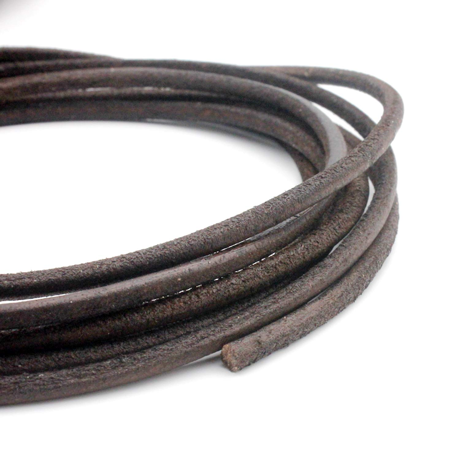 6 Yards 4mm Round Leather Cord Real Leather Strap Distressed Brown