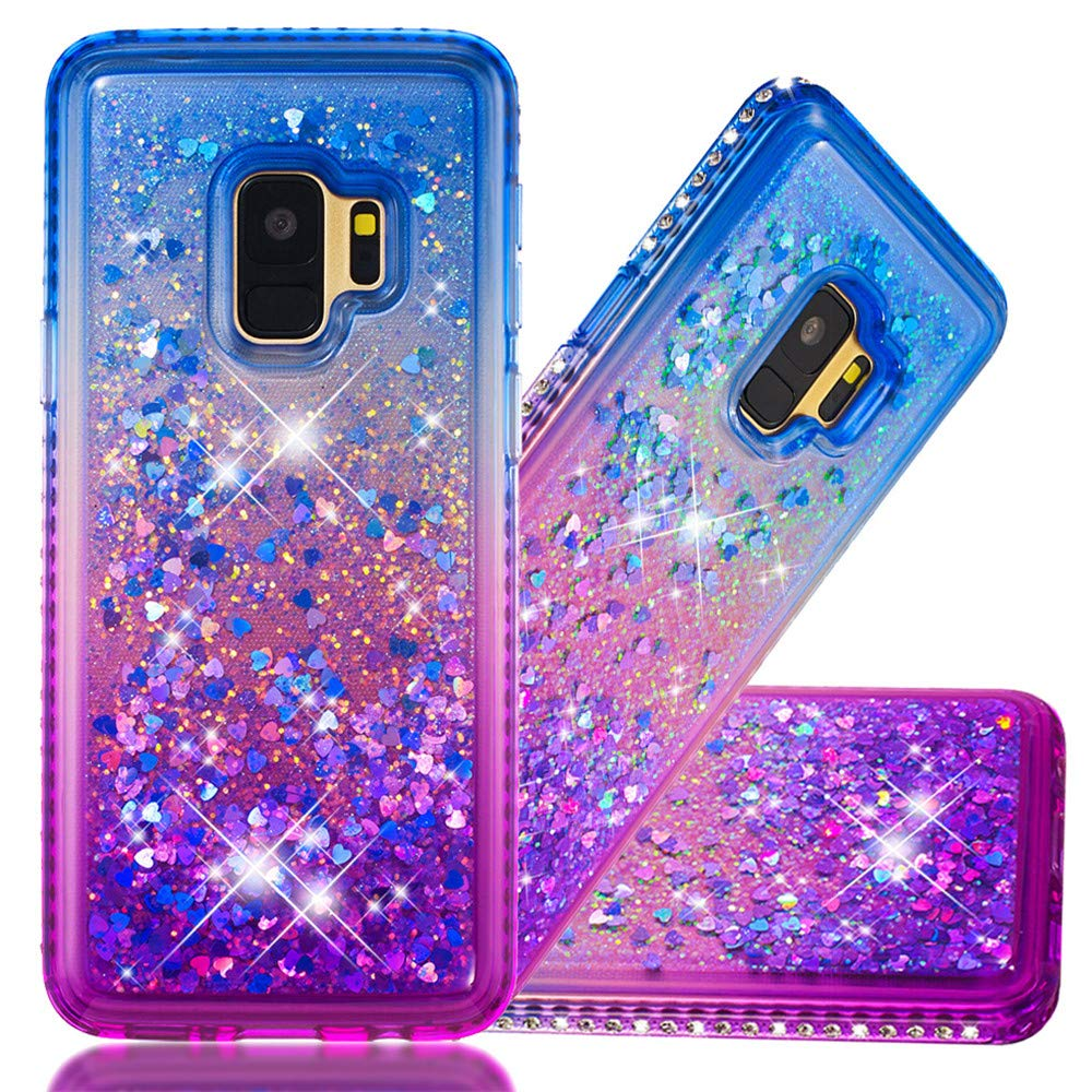 S9 Plus Protective Case, COTDINFORCA Liquid Glitter Case for Girls Women Bling Shiny Flowing Love Heart Cover Clear TPU Shockproof Bumper for Samsung Galaxy S9 Plus (2018). Liquid- Pink Purple