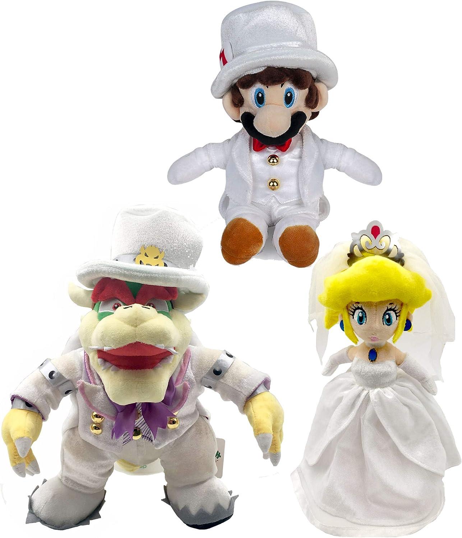 Yijinbo 3X Super Mario Odyssey King Bowser Princesa Peach Mario Vestido de Boda de Peluche Animal: Amazon.es: Hogar