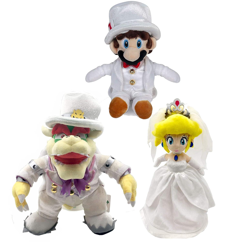 Yijinbo 3x Super Mario Odyssey King Bowser Princess Peach Mario Wedding Dress Plush Toy Stuffed Animal