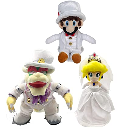 Yijinbo 3x Super Mario Odyssey King Bowser Princess Peach Mario Wedding Dress Plush Toy Stuffed Animal