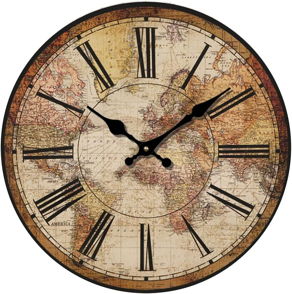 "HUABEI Retro Wall Clock, 12"" Vintage World Compass Map Travel Lover Silent Wooden Wall Art Decor Analog Battery Operated Non-Ticking Bedroom Living Room Kitchen Office"