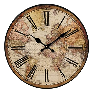 """HUABEI Retro Wall Clock, 12"""" Vintage World Compass Map Travel Lover Silent Wooden Wall Art Decor Analog Battery Operated Non-Ticking Bedroom Living Room Kitchen Office"""