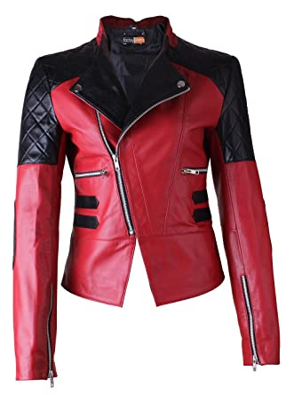 88cee54444d FE Damask Stylish Womens Biker Leather Jacket in Red n Black Quilts ...