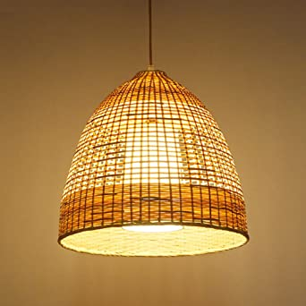 Lámpara madera,Estilo chino estilo minimalista lámpara personalidad creativa restaurante lámpara bambú lámpara rota iluminación jardín lámpara tejida a mano-A: Amazon.es: Iluminación