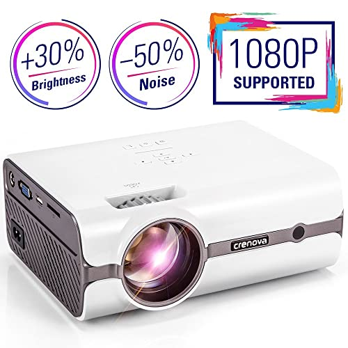 Projector, 2018 Upgrade Crenova Video Projector XPE496 Home Mini Projector 180'' Portable Projector with PC Laptop USB/SD/AV/HDMI/VGA Input Support 1080P Full HD for Video TV Movie Party Game Home Entertainment (White+Brown)