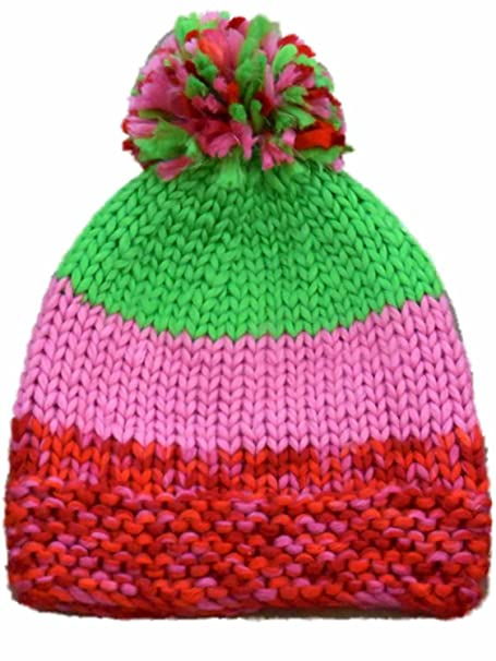 Amazon.com  Urbanology Womens Pink and Green Striped Knit Beanie ... 5e530948dc4