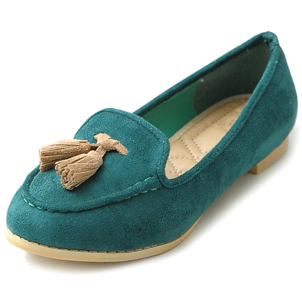 Ollio Women's Ballet Shoe Tassel Faux-Suede Cute Flat B00GFXC0Z4 7.5 B(M) US|Dark Green