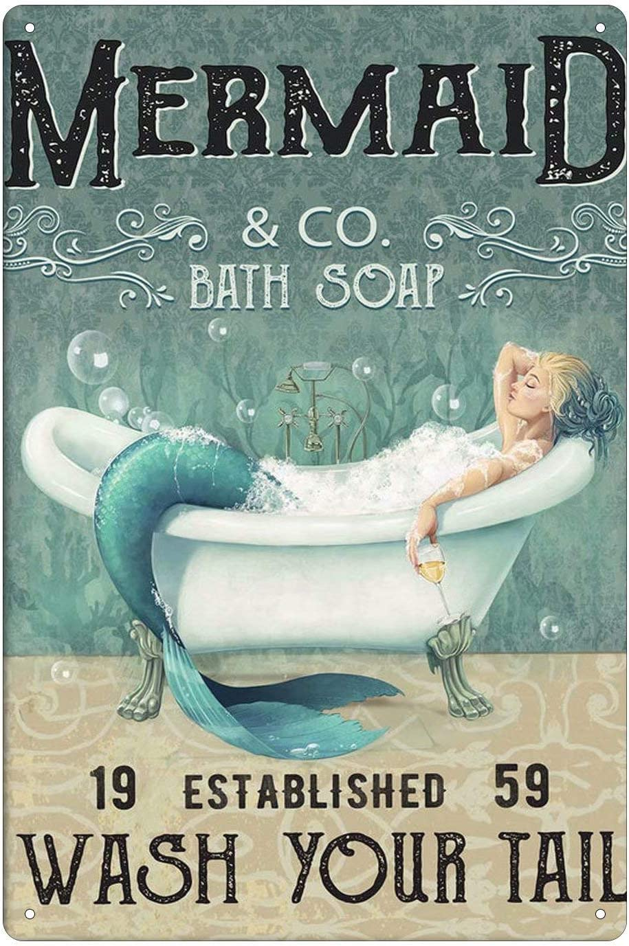 Mermaid Funny Tin Sign Bar Pub Diner Cafe Wall Decor Home Art Poster Retro Iron Poster Painting 8x12 inch
