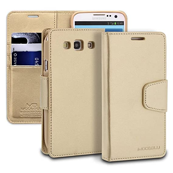 buy popular c10eb 018be Galaxy S3 Case, ModeBlu [Classic Diary Series] [Gold] Wallet Case ID Credit  Card Cash Slots Premium Synthetic Leather [Stand View] for Samsung Galaxy  ...