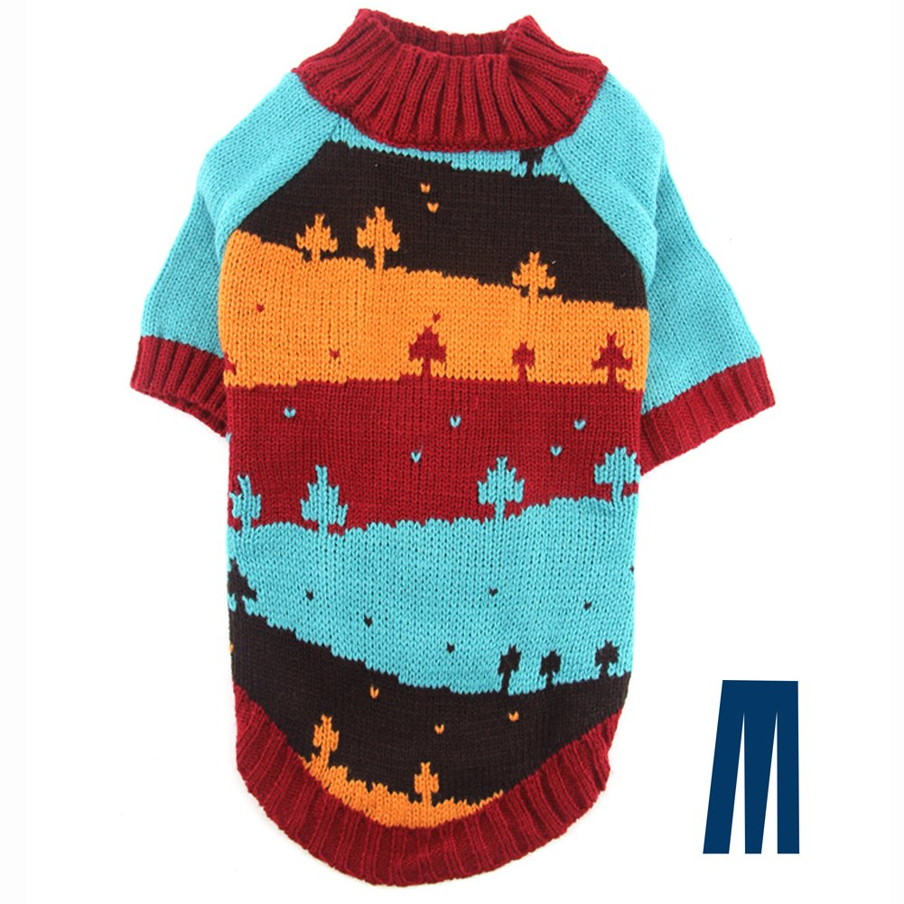 L Mikayoo Dog Christmas Sweater, Pet Xmas Sweater, Cat Holiday Sweater, Christmas Tree and Contrast color Design Cold Weather Coat, Holiday Festive Sweater for Dogs or Cats(L)