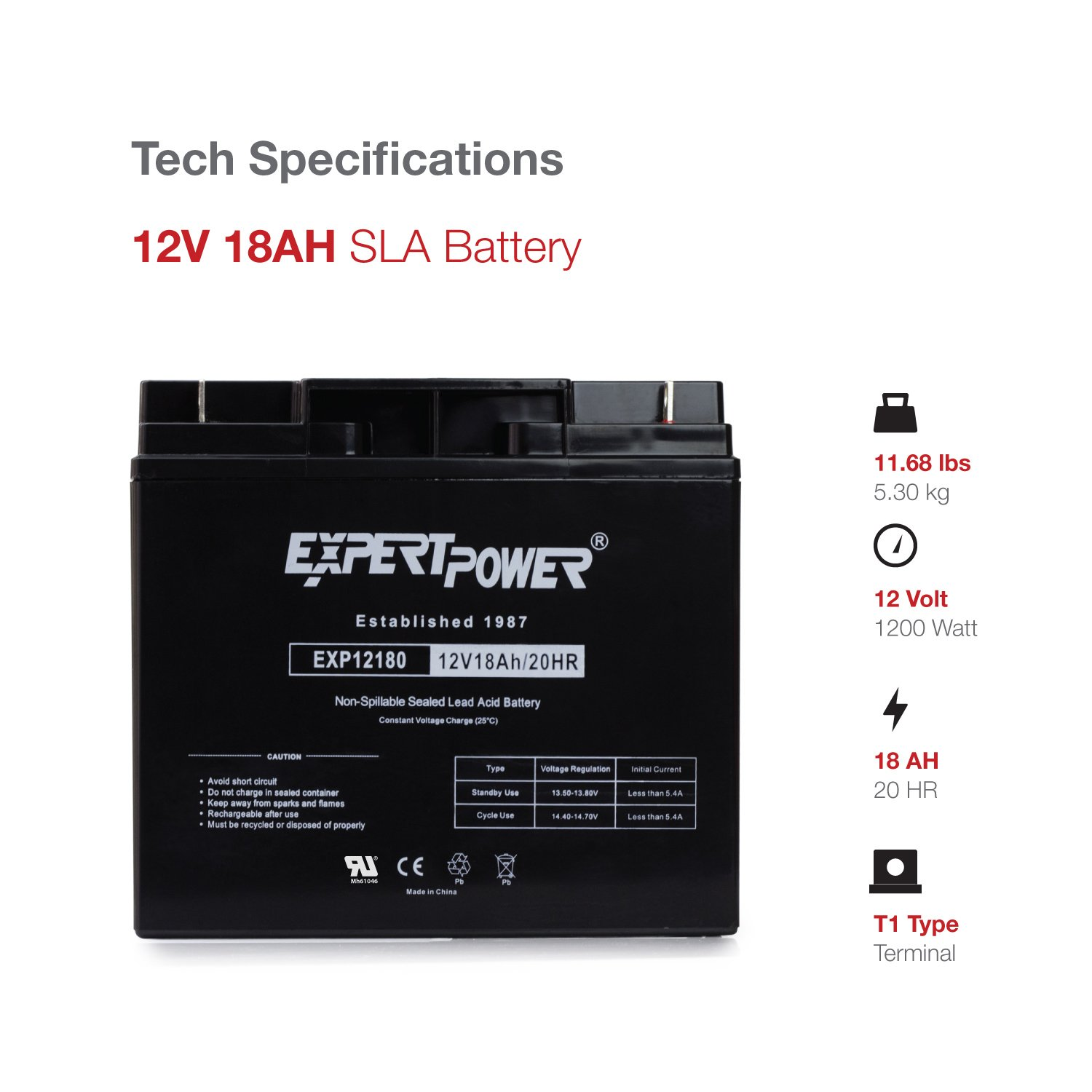 Expertpower Exp12180 12 Volt 18 Ah Rechargeable Battery 2v 6v 12v Sealed Leadacid Sla Mains Charger Ebay With Nuts And Bolts Automotive