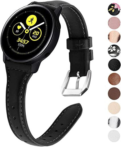 EZCO Leather Bands Compatible with Samsung Galaxy Watch Active / Active 2 / Galaxy Watch 42mm / Gear Sport, 20mm Slim Genuine Leather Watch Strap ...