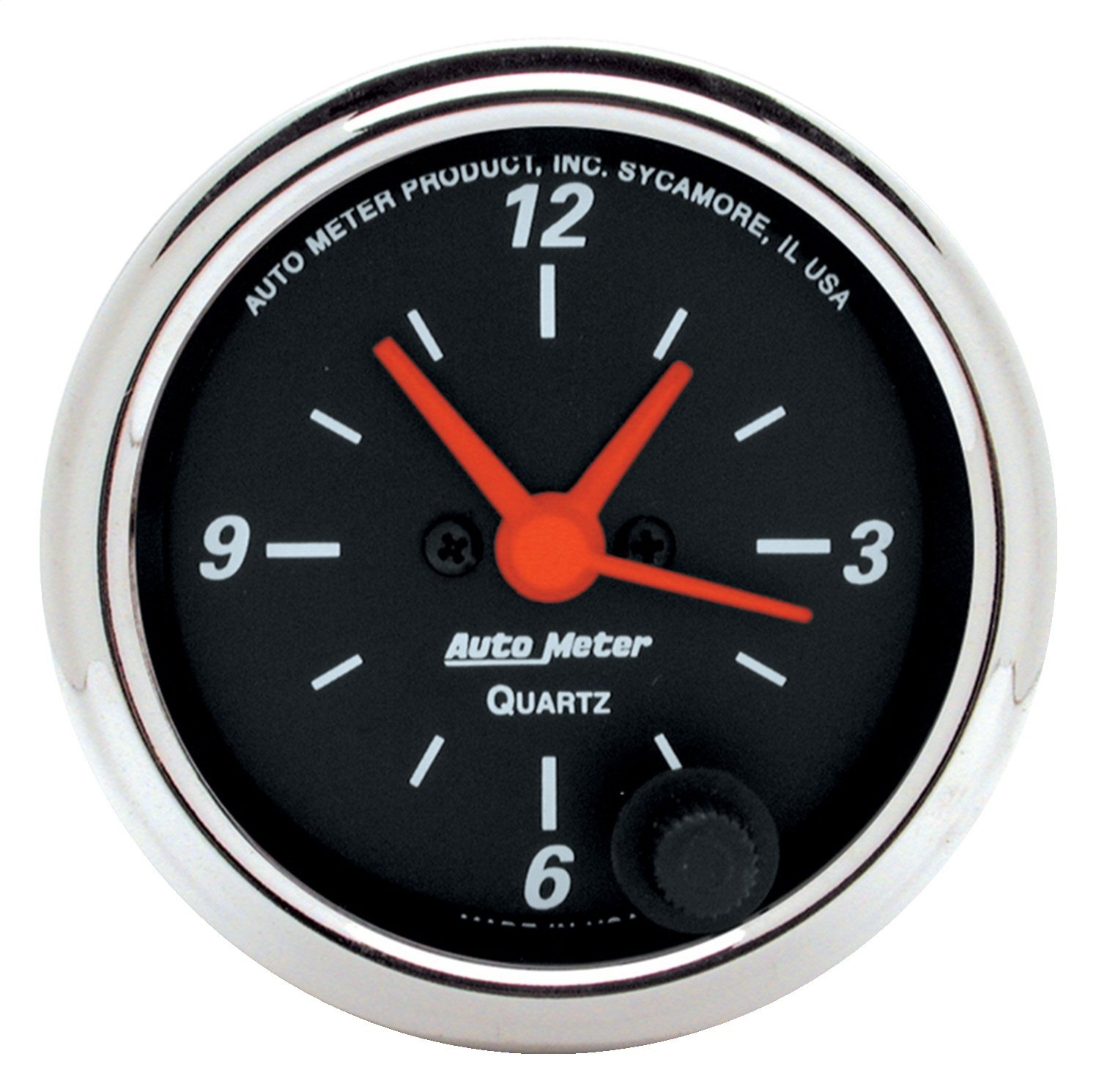 Auto Meter 1484 2-1//16-Inch 12V Short Sweep Electric Quartz Movement Clock with Second Hand