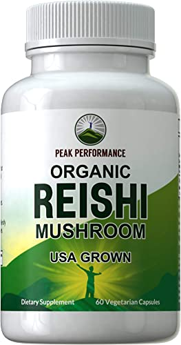 Organic Reishi Mushroom Capsules USA Grown by Peak Performance. Naturally Harvested Mushrooms Extract Supplement. Adaptogen, Immune Support, Antioxidant, Beta Glucan. Reishi Mushroom Powder Pills