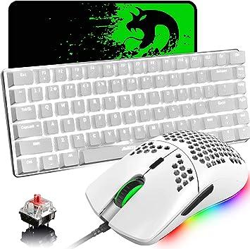 Teclado y ratón mecánicos para juegos,retroiluminación LED USB tipo C Teclado con cable Interruptor rojo Teclas anti-fantasma+Ratón para juegos RGB ...