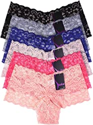 08939dd6ee8b Mamia Women's Sexy Lace Hiphugging Boyshort or Bikini Panties 6pk