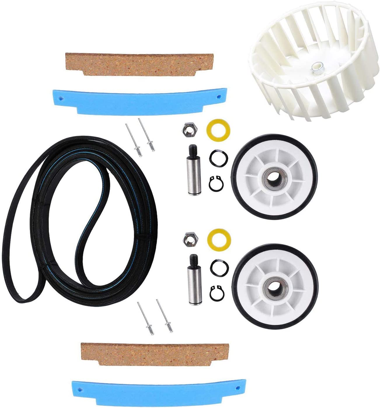 303373 Roller Kit Set of Two Compatible with May-tag Dryer 12001541 Replaces for Whirlpool 303836 with Dryer Repair kit Compatible with 312959 Dry Drum Belt,306508 Dryer Bearing Kit by Wadoy
