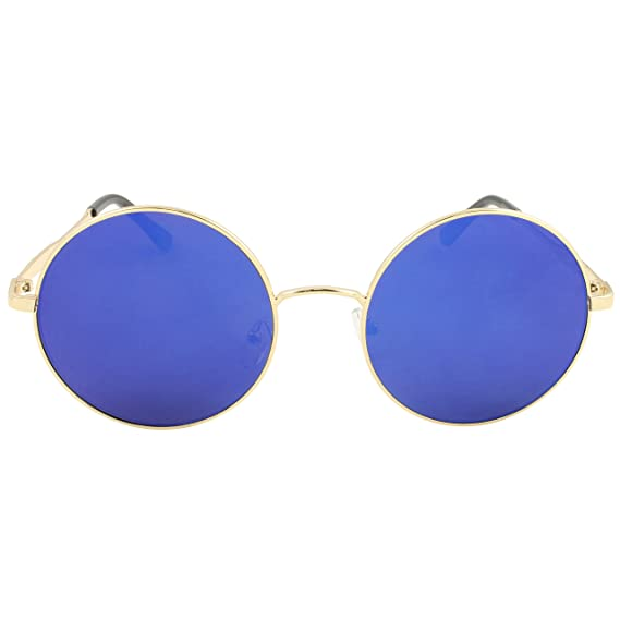 fcb11cb6c75 Oversized Round Sunglasses Lennon Style Large Lens Festival Glasses Blue   Amazon.co.uk  Clothing