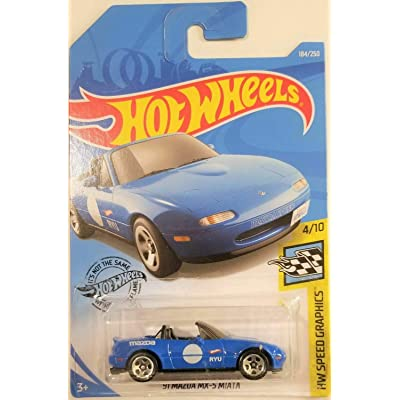 '91 Mazda MX-5 Miata Blue DIECAST HOTWHEEL HW Speed Graphics New for 2020 #184/250: Toys & Games
