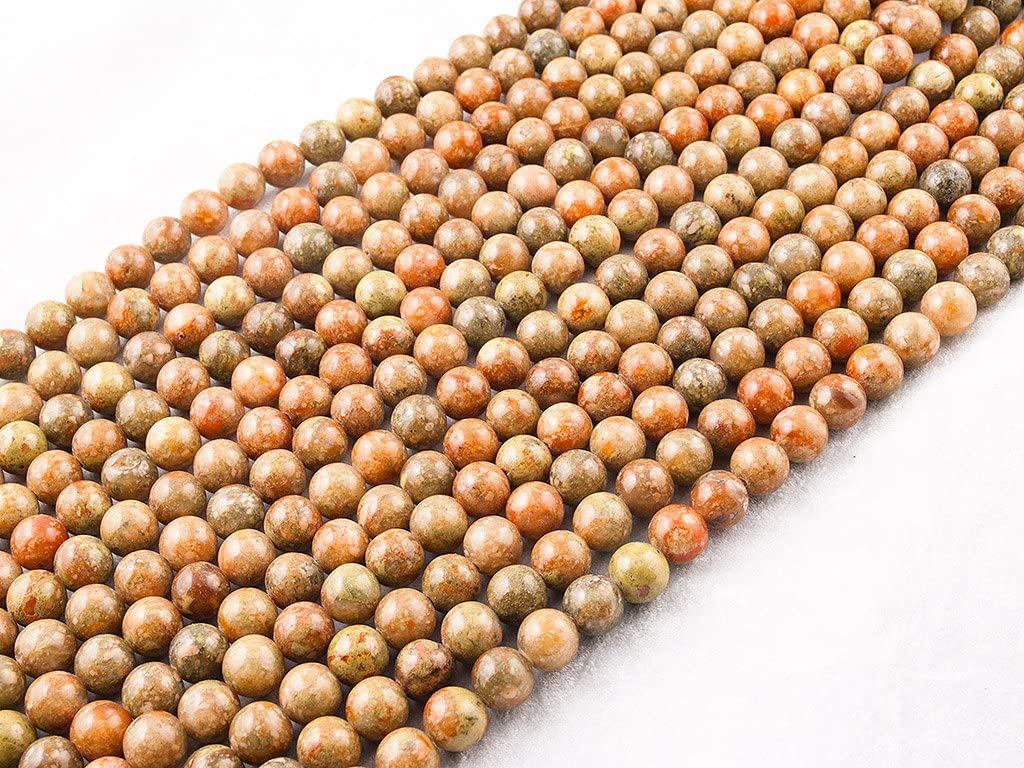 Beads Ok, Abalorios Cuentas Piedra Semipreciosa Otoño Jaspe Naturales Esferas Bola Redonda 4mm, Cerca de 38cm un Tira, Vendido por Tira. 4mm, Round Natural Autumn Jasper Gemstone Beads