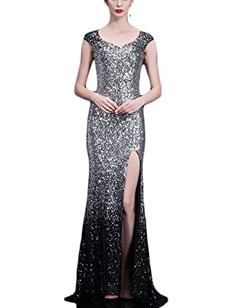 YSMei Womens Ombre Sequins Evening Prom with Split Long Formal Party Gown Silver Black 2