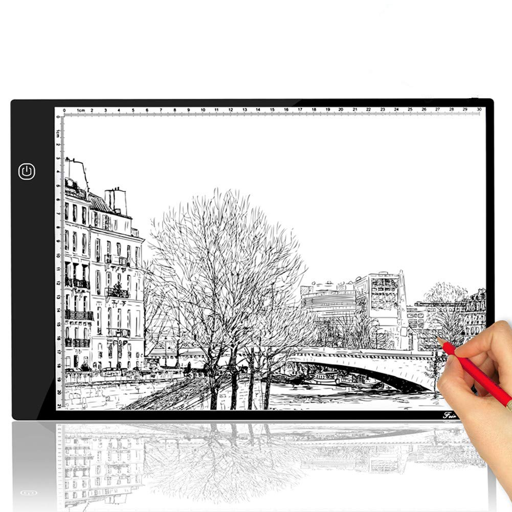 A4 Tracing Light Box Portable LED Light Table Tracer Board Dimmable Brightness Artcraft Light Pad for Artists Drawing 5D DIY Diamond Painting Sketching Tattoo Animation Designing Feir