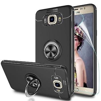 LeYi Funda Samsung Galaxy J7 2016 con Anillo Soporte,360 Grados Giratorio Ring Grip con Kickstand Gel TPU de Silicona Bumper Case Carcasa Fundas ...