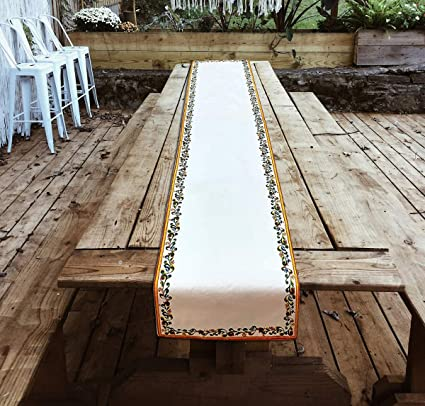 Duck Cotton Fabric Home Decor Table Runner- 14 X 72 inch for Table Linens (White Multi)