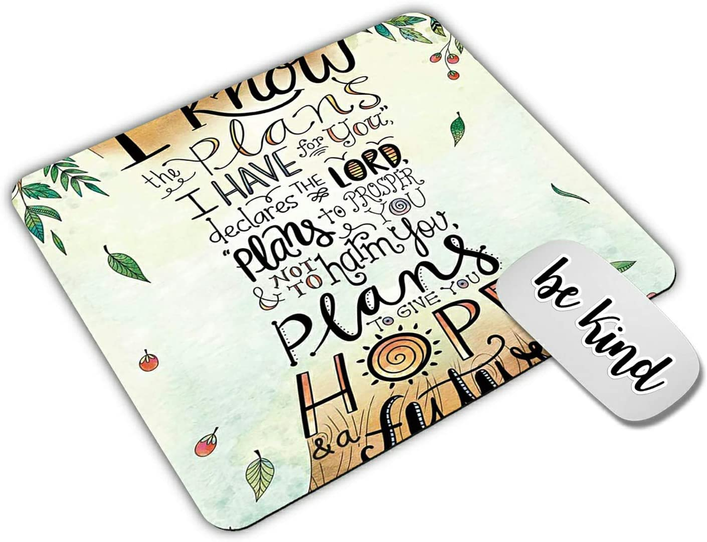 Dikoer Quotes Jeremiah 29:11 Mouse Pad for laptops Office Computer Decor,Cute Gaming Mousepad with Design,Non Slip Rubber Mouse mat and be King Sticker