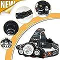 LED Headlamp, 6000 Lumens Max 4 Modes Waterproof Head Flashlight Light Waterproof Flashlight Head Lights