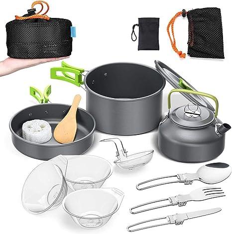 Outdoor Camping Hiking and Picnic Compact Durable Pot Pan Bowls Encamp 13 PCS Camping Cookware Outdoor Cooking Mess Kit,Lightweight