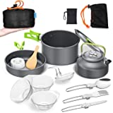 Camping Cookware Mess Kit Portable Outside Camping Cooking Set Lightweight Camping Pots and Pans Non-Stick Kettle Outdoor Cam