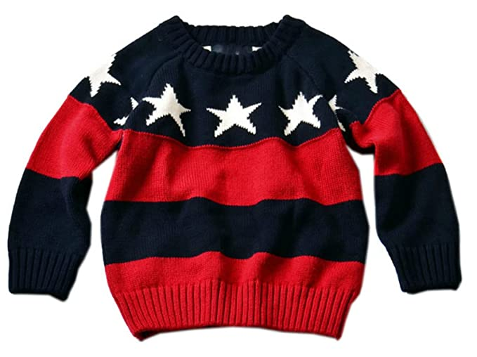 453091bcd Amazon.com  Betusline Baby Boy Girl Star Print Striped Knit Pullover ...