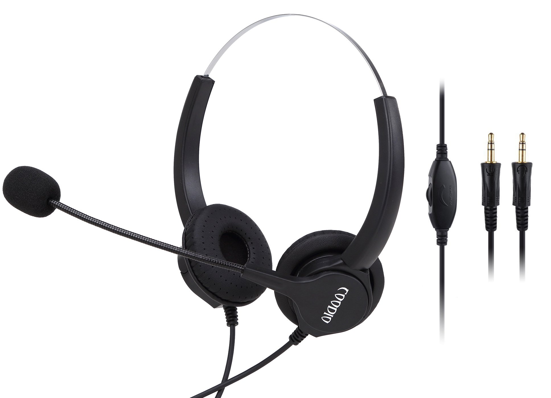 3.5mm PC VOIP Headset, Coodio 3.5mm Headphone [Volume Control] [Noise Cancelling] [Protein Earmuff] Binaural Headphone With Mic Microphone For PC Laptop Call Center Telephone Gaming Music - HS4